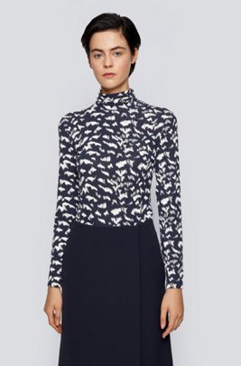 Rollneck slim-fit top in printed stretch jersey, Patterned