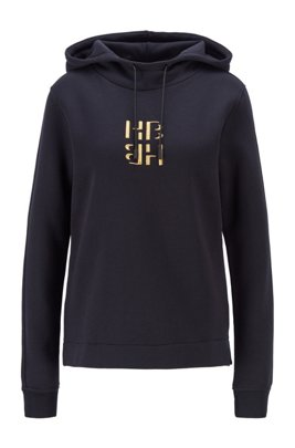 Hooded monogram sweatshirt in cotton and modal with silk, Black