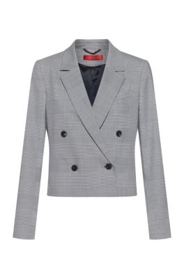 Double-breasted regular-fit jacket in Glen-check fabric, Light Blue