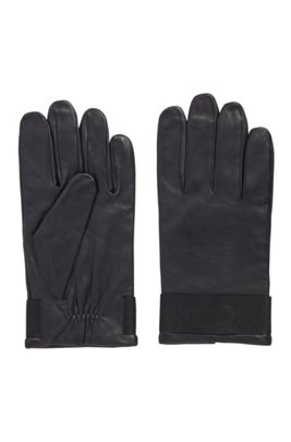 Logo-strap gloves in grained nappa leather, Black