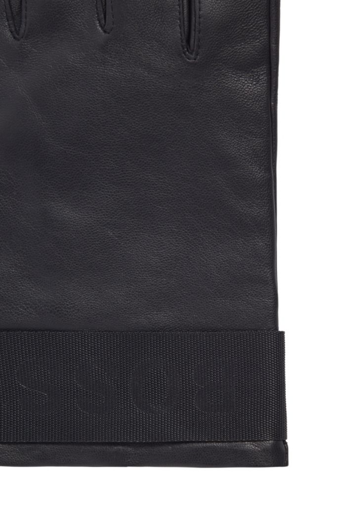 Logo-strap gloves in grained nappa leather