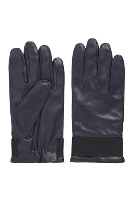 Logo-strap gloves in grained nappa leather, Dark Blue