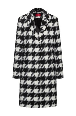 Relaxed-fit coat with all-over houndstooth motif, Black
