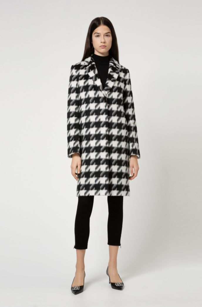 Relaxed-fit coat with all-over houndstooth motif