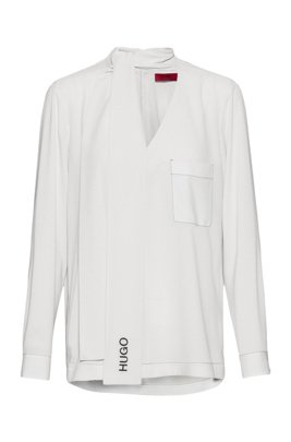 Crepe-georgette top with logo-embroidered tie neck, White