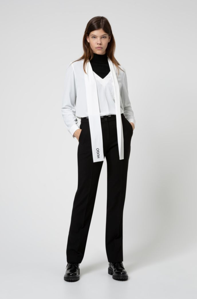 Crepe-georgette top with logo-embroidered tie neck