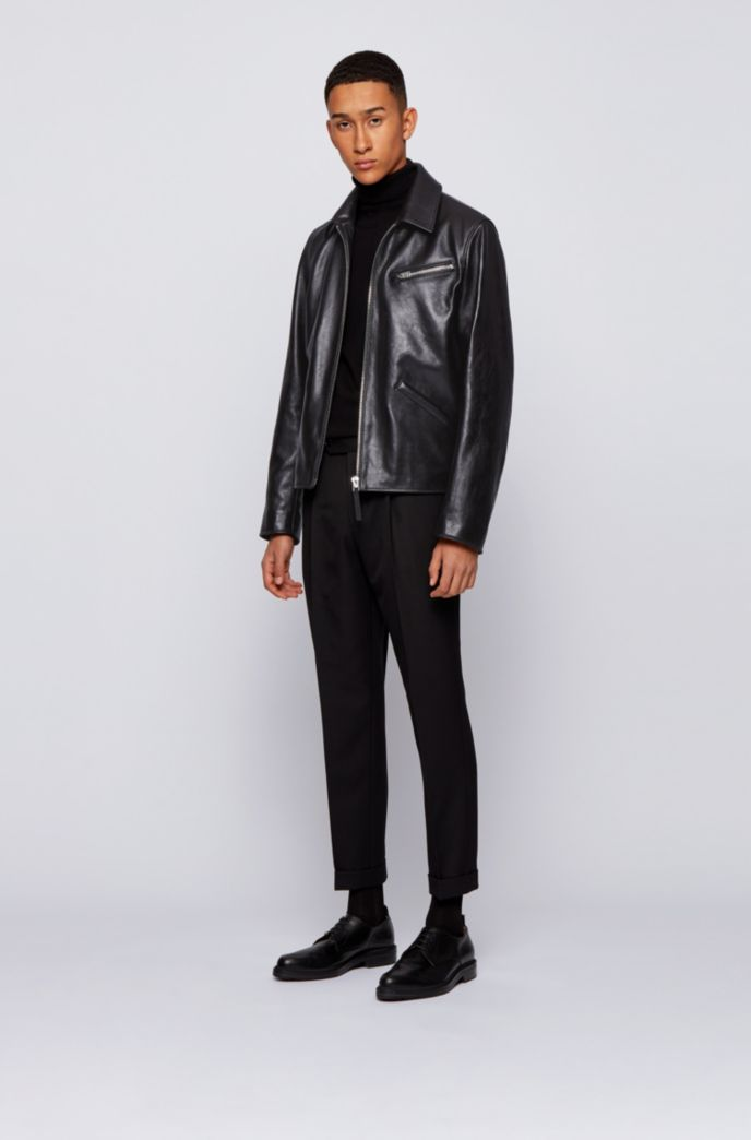 Leather jacket with point collar