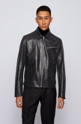 Leather jacket with point collar, Black