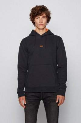 Hooded sweatshirt in cotton-blend French terry, Black