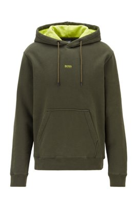 Hooded sweatshirt in cotton-blend French terry, Light Green