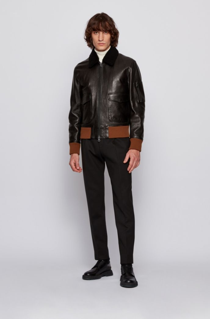 Relaxed-fit lambskin jacket with detachable collar