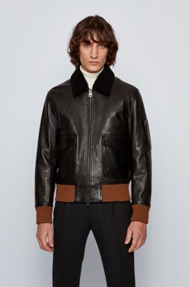Relaxed-fit lambskin jacket with detachable collar, Black