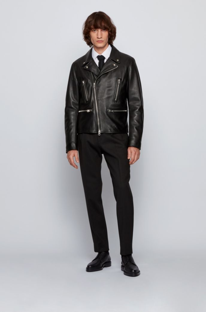 Regular-fit leather jacket with reverse lapels