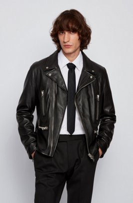 Regular-fit leather jacket with reverse lapels, Black