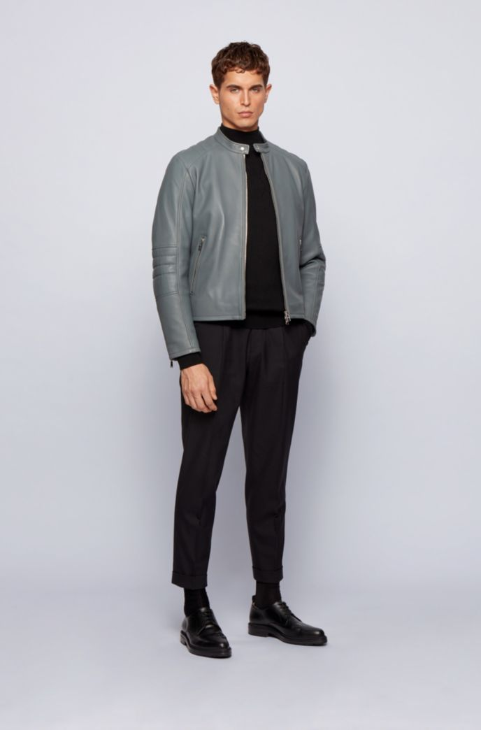 Regular-fit leather jacket with quilted sleeves