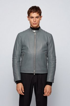Regular-fit leather jacket with quilted sleeves, Grey