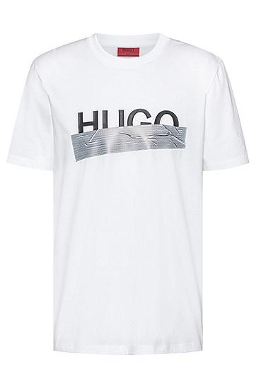 新季徽标艺术图案装饰常规版型 T 恤,  100_白色