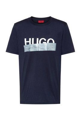 T-shirt Regular Fit avec logo artistique de la nouvelle saison, Bleu foncé