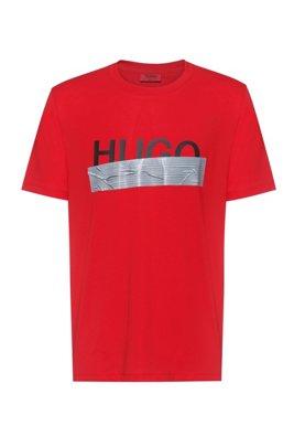 Camiseta regular fit con ilustración de logo de la nueva temporada, Rosa claro
