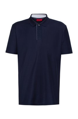 Cotton-piqué polo shirt with Aircool finishing, Dark Blue