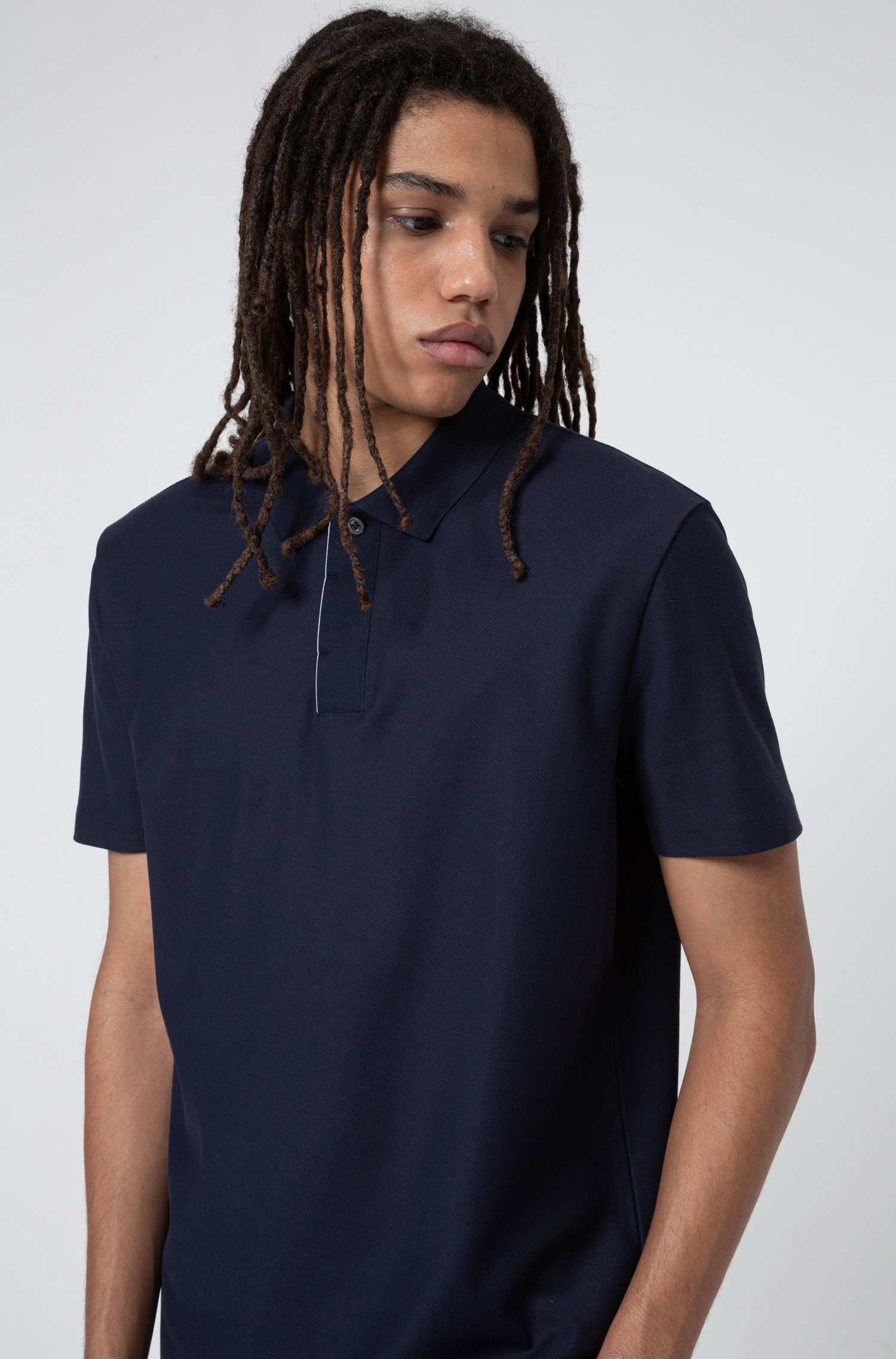 Cotton-piqué polo shirt with Aircool finishing, Dark Blue