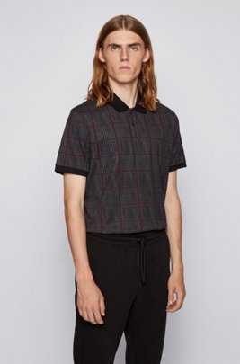 Regular-fit polo shirt with houndstooth pattern, Black
