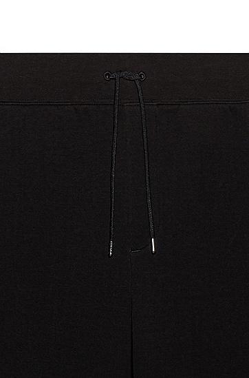 拉链口袋棉混纺法式毛圈布慢跑裤,  001_黑色