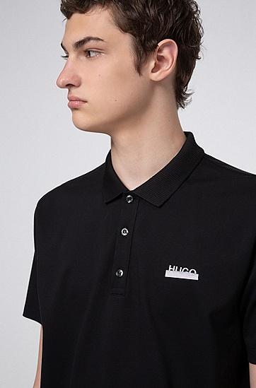 Permafit 饰面棉质凸纹布徽标 Polo 衫,  001_黑色