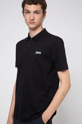 Logo polo shirt in cotton piqué with Permafit finishing, Black