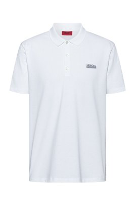 Logo polo shirt in cotton piqué with Permafit finishing, White