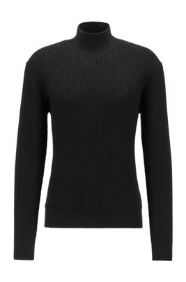 Rollneck sweater in organic cotton, Black