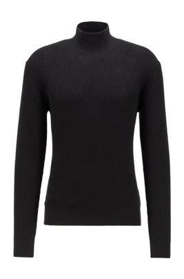 Jersey de cuello vuelto en algodón orgánico, Negro