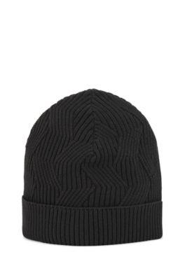 Monofaser-Mütze aus Bio-Baumwolle, Schwarz