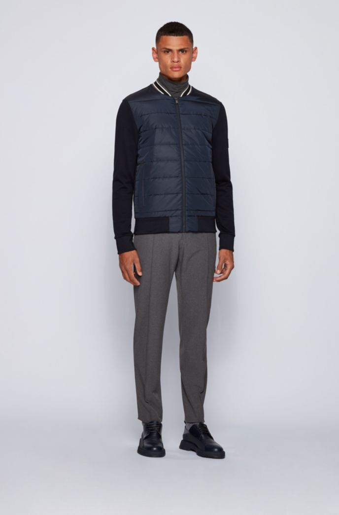 Bomber-style zip-through sweatshirt with quilted front
