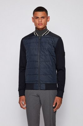 Bomber-style zip-through sweatshirt with quilted front, Dark Blue
