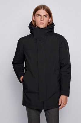 Three-in-one parka with logo hood, Black