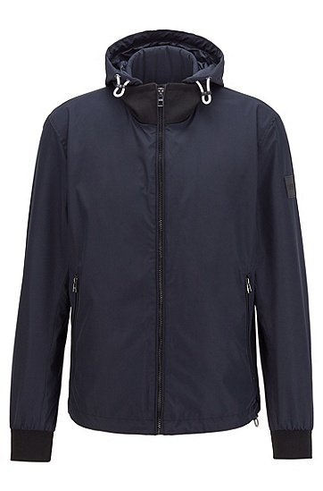 可拆卸兜帽层压面料夹克衫,  402_暗蓝色
