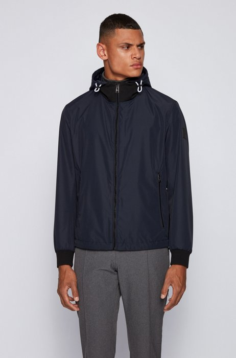 Blouson-style jacket in laminated fabric with detachable hood, Dark Blue