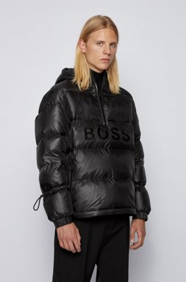 Regular-fit down jacket with gloss logo, Black