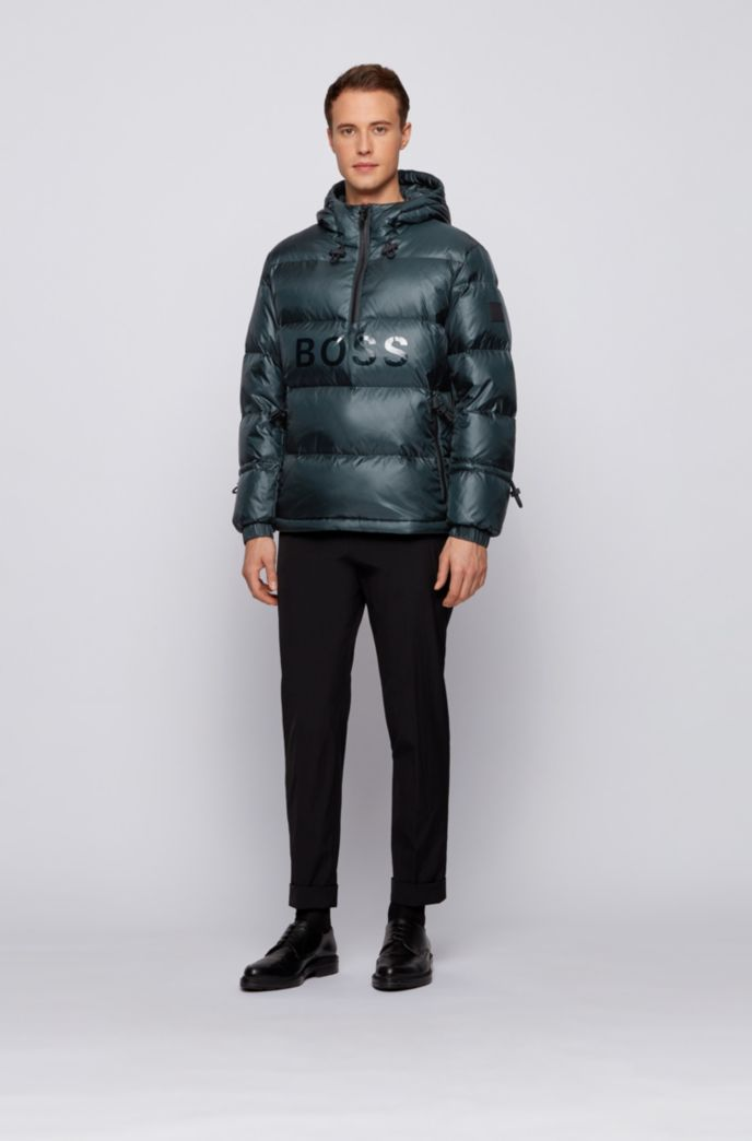 Regular-fit down jacket with gloss logo