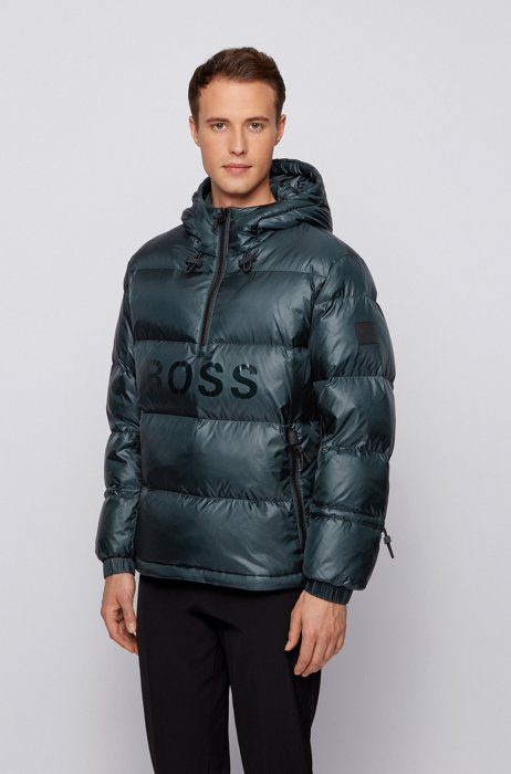 Regular-fit down jacket with gloss logo, Light Green