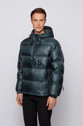 Regular-fit down jacket with gloss logo, Light Green