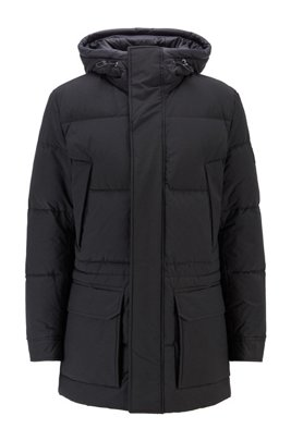Water-repellent down jacket in cotton-blend fabric, Black