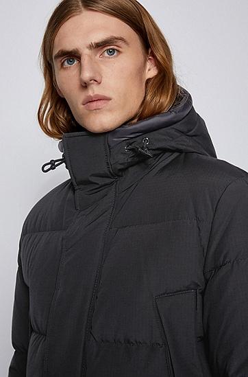 棉质混纺面料防水羽绒夹克,  001_黑色