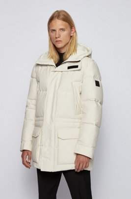 Water-repellent down jacket in cotton-blend fabric, White