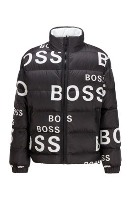 Reversible down jacket with statement logo side, Black