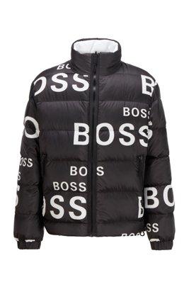 Tweezijdig te dragen donsjas met opvallende logo's, Zwart