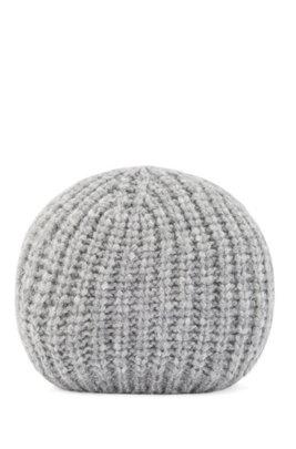 Ribbed beanie hat in alpaca-blend yarn, Grey
