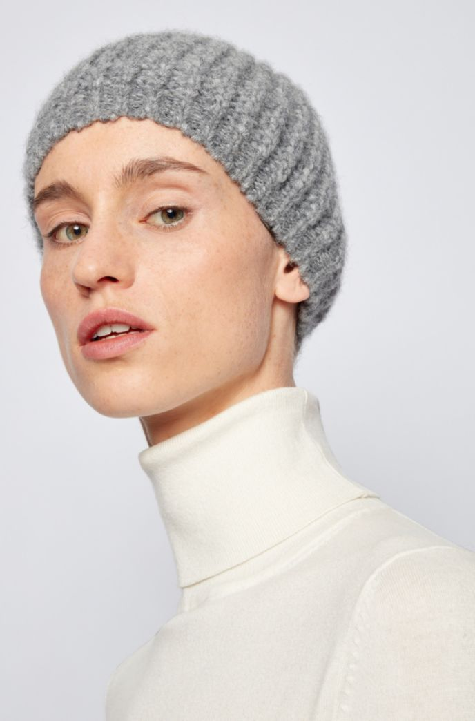 Ribbed beanie hat in alpaca-blend yarn