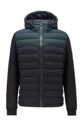 Hybrid hooded jacket with colour-block logo zip, Black